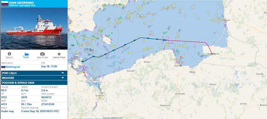 Судно Иван Сидоренко убыло из порта Мукран 18 сентября 2020 г. в г. Калининград. Модернизация Черского продолжается