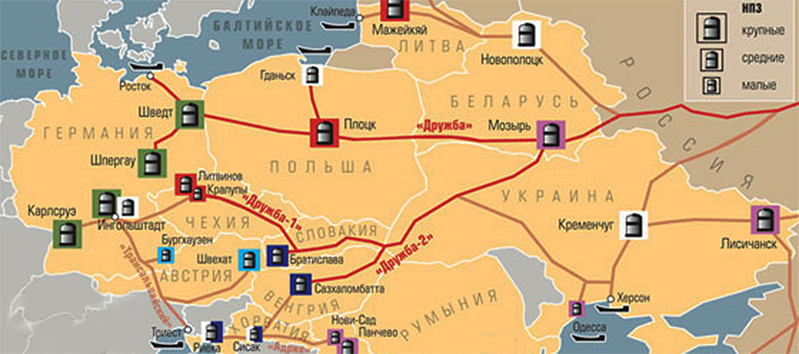 Польша остановила транзит по нефтепроводу Дружба, украинский транзит пока сохраняется