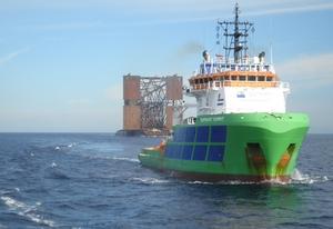 Fairmount tugs deliver Tamar jacket in Mediterranean Sea