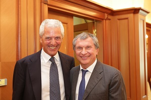 Rosneft President Igor Sechin Meets Pirelli Managing Director Marco Tronchetti Provera in Moscow
