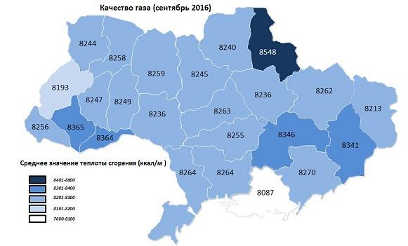 Укртрансгаз сообщил о калорийности использованного на Украине газа за сентябрь 2016 г
