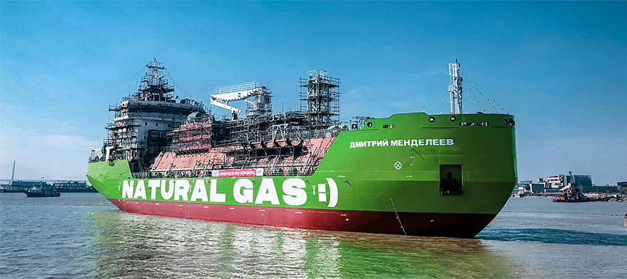 СПГ-бункеровщик Дмитрий Менделеев компании Газпром нефть спущен на воду