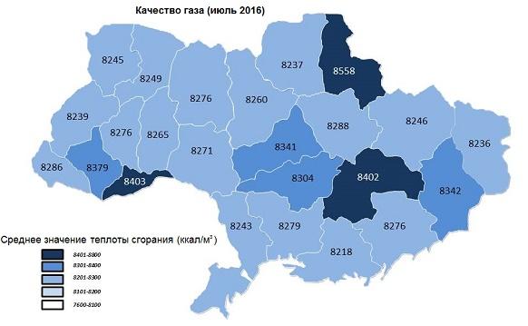 Укртрансгаз сообщил о качестве природного газа в июле 2016 г