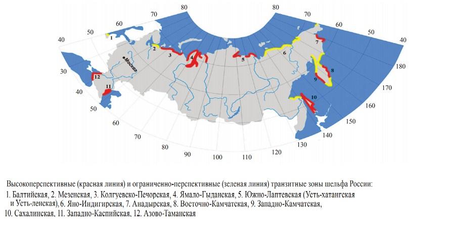 зоны перспективной донной сейсморазведки в РФ