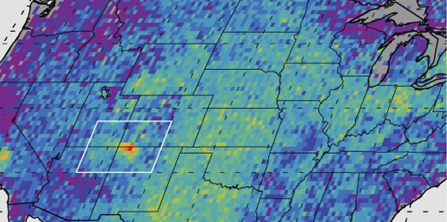 Карта выбросов метана в США